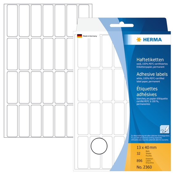 Mærkningsetiketter HERMA hvid 13x40